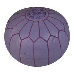 Moroccan Purple Leather Pouf - A small pouf accessory can be placed in your living room and paired with a fun throw. This has a great color, and you can also use it as an additional seat this holiday.