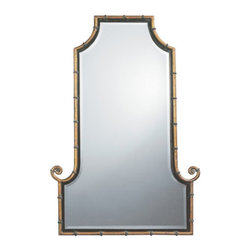 Uttermost - Himalaya Arched Iron Mirror - 29W x 42H in. - 10770 B - Shop for Mirrors from Hayneedle.com! The Himalaya Mirror is an epic designer accent for your walls. Matching the grandeur of its name the Himalaya Mirror has antique gold finished iron rods shaped like bamboo outlining the frame. A black inner lip accentuates the gold and sparkling beveled glass. The Himalaya Mirror is a great Asian-inspired piece that will definitely be a powerful accent in your design scheme.Here's what you need to know to hang your new Uttermost Mirror. Hanging a mirror even if it is a large heavy piece is not a problem if you have the right hanging hardware and a hammer. The best hanging hardware for most walls is the J-hook. It is designed to keep the nail that goes into the wall at a sharp angle so that even in drywall it will stay in place. It is important that the J-hook be properly weighted for the item you want to hang. On all Uttermost products the proper J-hook and nails are included to make sure you have exactly the hardware you need for hanging each piece. On the largest Uttermost mirrors we provide a self-leveling adjustable J-hook. With this hardware even if the item is slightly uneven the hangers can be adjusted without moving the nails from the wall.About UttermostThe mission of the Uttermost Company is simple: to make great home accessories at reasonable prices. This has been their objective since founding their family-owned business over 30 years ago. Uttermost manufactures mirrors art metal wall art lamps accessories clocks and lighting fixtures in its Rocky Mount Virginia factories. They provide quality furnishings throughout the world from their state-of-the-art distribution center located on the West Coast of the United States.
