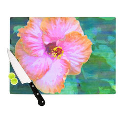 """Kess InHouse - Sylvia Cook """"Hibiscus"""" Green Pink Cutting Board (11"""" x 7.5"""") - These sturdy tempered glass cutting boards will make everything you chop look like a Dutch painting. Perfect the art of cooking with your KESS InHouse unique art cutting board. Go for patterns or painted, either way this non-skid, dishwasher safe cutting board is perfect for preparing any artistic dinner or serving. Cut, chop, serve or frame, all of these unique cutting boards are gorgeous."""