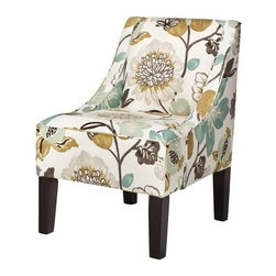 Swoop Upholstered Accent Chair, Georgeous Pearl - This pattern offers a soft palette of shades to inspire a whole room. I picture this simple chair in a bedroom corner as a cozy sitting spot.