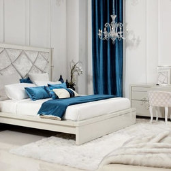 Luxurious Bedroom Collection - BUYS- JULIET Temptation Modern With Velvet Smooth Headboard Platform Bed