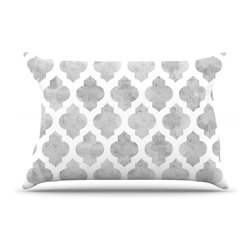 """Kess InHouse - Amanda Lane """"Gray Moroccan"""" Grey White Pillow Case, Standard (30"""" x 20"""") - This pillowcase, is just as bunny soft as the Kess InHouse duvet. It's made of microfiber velvety fleece. This machine washable fleece pillow case is the perfect accent to any duvet. Be your Bed's Curator."""