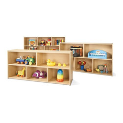 Young Time - Young Time 3 Pc Storage Set - Toys not included. Includes one three shelf storage and two double shelf storage. Three shelves provides abundant space for supplies and books. Two-shelf storage accommodates toys, books and other items where toddlers can reach them. Two shelves sized just right for children. Provides exceptional storage of toys, books and more. Durable laminate surface. Rounded corners. Thermo-fused edgebanding. Safety tested product. Greenguard Children and Schools SM indoor air quality certified. CPSIA and CARB compliant. Warranty: 1 year. Made in USA. Assembly required. Three Shelf Storage: 48 in. W x 12 in. D x 32.5 in. H (65 lbs.). 21.5 in. Two Shelf Storage: 48 in. W x 12 in. D x 21.5 in. H (48 lbs.). 26.5 in. Two Shelf Storage: 48 in. W x 12 in. D x 26.5 in. H (48 lbs.)Young Time is for budget-minded buyers seeking to get the most for their classroom furniture dollar.  Young Time offers affordable, American-made early learning furniture designed with a focus on the functionality you need most!