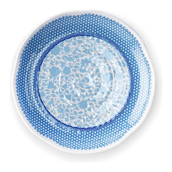 """11"""" Heritage Round Hammered Plate - Blue and White Round Textured Plate"""