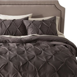Threshold Pinched Pleat Duvet Cover Set, Gray - The pleating on this bedding set gives it such a high-end feel. Plus, I just love my grays for a warmer touch.