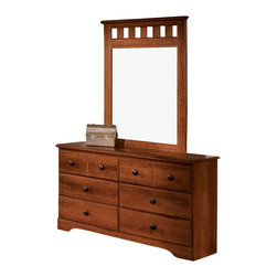 Standard Furniture - Standard Furniture Orchard Park 34 Inch Mirror in Cherry - Orchard Park, by Frisco Manufacturing, is inspired by the rich American tradition of Shaker styling is evident in the clean lines and simplicity of the group. Quality wood products bonded together creates durable construction throughout. Products may contain some plastic parts. French dovetail construction throughout enhances durability. Roller side drawer guides provide ease and convenience. Contrasting knobs in a dark brown color finish with simulated wood graining. Beautiful Cherry Star color finish. Surfaces clean easily with a soft cloth.