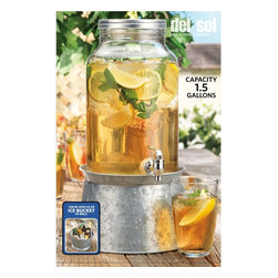 Home Essentials - Classic Mason Jar Dispenser with Galvanized Metal Base - On the beach or on the front porch, our Mason-jar-inspired collection continues the American tradition of casual entertaining. Shabby chic with a refined twist, this lovely dispenser will serve you well. The stand conveniently converts to an ice and wine bucket and elevates jars for an attractive presentation and easy dispensing indoors or out. Its authentic tin look and heavy duty acrylic spigot will make this dispenser an eye catching and useful piece to behold and display. * Capacity:1.5 gallons * Stand converts to ice and wine bucket