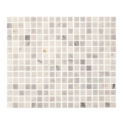 "Tile Circle - Aspen White Marble 5/8""X5/8"" Square Tiles (Backsplash, Bathroom), 12x12 - Perfect for kitchen backsplashes or bathroom floor and wall tile installations."