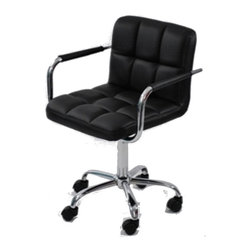 """Lemoderno - Fine Mod Imports  Studio Office Chair, Black, 35-38.5""""h X 25""""w X 24""""d - The Studio Office Chair offers unique design and comfort all in one package, making it a must-have for your contemporary office. Office Chair looks great in the modern office or home based workstation. This contemporary chair is perfect for any office environment. Chrome plated steel frame 5 star base with casters Leatherette seat and back Tilt Lock, Tilt Tension, Removable Arms Assembly Required"""