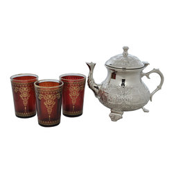 "Divine Designs - Maroon Nickle plated Moroccan Tea Set - ""This stunning Moroccan Tea Set offer a new and unique experience to dining. The vibrant colors and distinguishing designs are stylish and will most certainly impress any house guest while entertaining."