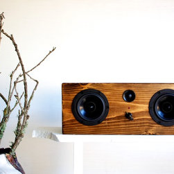 Weston Box || Walnut - Salvage Audio Music Boxes are each handmade from reclaimed wood. Blending the character of the recycled wood with great speaker components creates a box that looks as amazing as the music you play through it. These powered speakers will play your music wirelessly via bluetooth or accept your music through an aux input. Plug in your iPhone, iPod, or any music player with a headphone jack with the included 3.5mm cable or sit back and control your music from across the room!