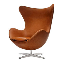 Arne Jacobsen Egg Chair - The Arne Jacobsen Egg Chair was the culminations of a new technique that Jacobsen pioneered with the Egg™. Like a sculptor, Jacobsen first sculpted the Egg out of clay in his garage so he could perfect the shape. He then molded the Egg Chair out of a strong foam inner shell under the upholstery. The result is a wholly unique shape, meaning the Jacobsen Egg Chair affords privacy in otherwise public spaces.