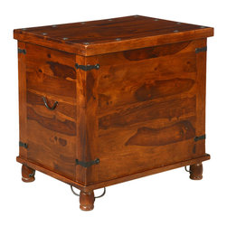 Sierra Living Concepts - Sanat Fe Rustic Storage Trunk Box Side End Table - Wonderful Multi-purpose Santa Fe Solid Indian Rosewood Storage Trunk which can be used as side table .