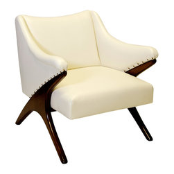 "Worlds Away - Worlds Away Don Chair - The Worlds Away Don chair delivers striking mid-century modern style. An angular silhouette and exposed wood legs offer this upholstered seat contemporary intrigue. 31.5""W x 35""D x 34""H; Beechwood frame; Cream vinyl cushion; Exposed nailhead trim"