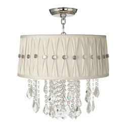 "Vienna Full Spectrum - Traditional Nicolli Clear 16"" Wide Pinch Pleat Crystal Ceiling Light - The Nicolli Clear semi-flushmount ceiling light features clear crystal elements and a chrome finish frame. The four-light design offers the timeless look of a chandelier and is updated with a stylish designer white pinch pleat shade. A wonderfully refreshing designer look for your living space.  Chrome finish frame and canopy. White pinch pleat shade. Clear crystal. Semi-flushmount ceiling light. Takes four 60 watt candelabra bulbs (not included). 19"" high. Chandelier only is 12"" wide 10"" high. Shade is 15"" across the top 16"" across the bottom 7"" high. Canopy is 5"" wide. Some assembly required; instructions included.  Chrome finish frame and canopy.  White pinch pleat shade.  Clear crystal.  Semi-flushmount ceiling light.  Crystal lighting from Vienna Full Spectrum.  Takes four 60 watt candelabra bulbs (not included).  19"" high.  Chandelier only is 12"" wide 10"" high.  Shade is 15"" across the top 16"" across the bottom 7"" high.  Canopy is 5"" wide.  Some assembly required; instructions included."