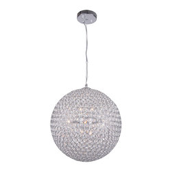 Joshua Marshal - 8 Light Round Crystal Pendant Light in Chrome Finish with Clear Crystal - Luxurious European crystals produce a lavish sphere of brilliance.