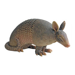 EttansPalace - Texas Armadillo Home Garden Statue Sculpture - He's one tough customer! With his armor-like skin and rigid shields, Tank the Armadillo statue, as much a loner as his real life animal kingdom counterparts, will happily barrel solo through your garden or stand guard at your entryway! Sculpted in amazing detail from his sharp Armadillo claws to long tail, our ferocious and exclusive animal statue is cast in over a foot of quality designer resin and hand-painted.