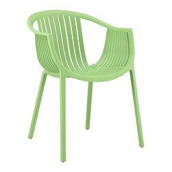 LexMod - Hammock Green Plastic Stackable Outdoor Modern Dining Chair - Retreat back to the outdoors with the splendid embrace of the Hammock chair. Made from durable molded plastic, Hammock is suitable for all weathers and conditions. Notable for its distinctive woven pattern and wide arching support, enjoy the festivities while snugly seated in this contemporary chair.