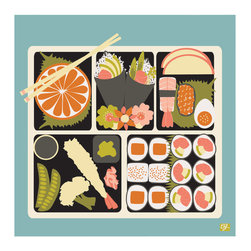 """Emma at Home - Bento Print, Sea, 11"""" x 14"""" - Is this print making you hungry? It's a charming reproduction of original art and would look great in a simple frame. It brings a plate full of personality to a kitchen."""