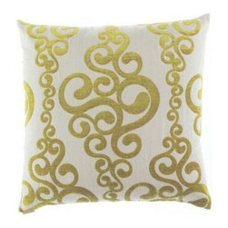 """Canaan - 24"""" x 24"""" Harpo Golden Damask Pattern Throw Pillow - 24"""" x 24"""" Harpo golden damask pattern throw pillow with a feather/down insert and zippered removable cover. These pillows feature a zippered removable 24"""" x 24"""" cover with a feather/down insert. Measures 24"""" x 24"""". These are custom made in the U.S.A and take 4-6 weeks lead time for production."""