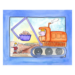 Oh How Cute Kids by Serena Bowman - Front End Loader, Ready To Hang Canvas Kid's Wall Decor, 24 X 30 - Every kid is unique and special in their own way so why shouldn't their wall decor be so as well! With our extensive selection of canvas wall art for kids, from princesses to spaceships and cowboys to travel girls, we'll help you find that perfect piece for your special one.  Or fill the entire room with our imaginative art, every canvas is part of a coordinating series, an easy way to provide a complete and unified look for any room.