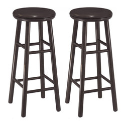 "Winsome Wood - Winsome Wood Set of 2 - 30 Inch Swivel Bar Stool - Set of 2 solid wood Swivel 29"" bar stools with beveled seat in Espresso finish . Rounded legs are sturdy; able to hold up to 200lbs. The beveled seat is contoured for comfort. The stools ship fully assembled Barstool (2)"