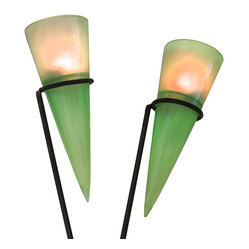 n/a - Pair of Green Conical Contemporary Garden Light Stakes - These conical green garden lights add a lovely accent to paths, decks, flower beds, and patios. The durable polyresin cones measure 13 inches long, 4 3/4 inches in diameter and they have a frosted appearance. A resin disc fits into each cone for the battery operated push light to sit on, and holes are drilled into the bottoms of the cones for water to drain. The round push lights use 2 AA batteries (included) and provide a soft glow. The included brown metal stakes are 42 inches long.
