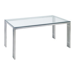 """Nuevo Living - Quasi Dining Table by Nuevo - The Quasi Dining Table features a clean yet sophisticated design with an industrial and contemporary flair. Atop the table rests a 1/2"""" thick clear tempered glass top which is supported by an immaculately crafted polished stainless steel frame."""