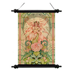 EttansPalace - Mystical Spring Wood Fairy Muse Canvas Wall Scroll Tapestry Decor - By artist Linda Ravenscroft; Drawing upon the idea of Faerie Folk or earth spirits, British artist Linda Ravenscroft conjured this dreamlike image set amidst a field of flowers and greemen. Our vinyl-canvas wall scroll tapes try hearkens back to the parchments of ancient libraries and mystical altars. Seeming to spring from the Cheshire woods surrounding the artists English studio, this work of decorative wall art is suspended from an ebony ribbon hanger by a black wooden rod and finials.