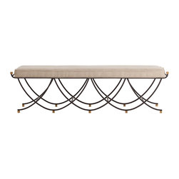 Kathy Kuo Home - Felice Iron Brass Linen Contemporary Open Base Linen Bench - When applied with care, contrasting and mixed metals can add an element of unexpected beauty, as is the case with this contemporary bench.  Crafted from delicately wrought iron with vintage brass cubes finishing off the tops and bottoms, this piece has a sophistication and airy quality that make it perfect for modern styles ranging from the earliest art nouveau to today's millennial mix.