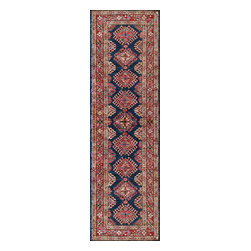 Rugsville - Rugsville  Kazak Navy Red Wool 16501-2687 Rug 2.6x8.7 - Our Super Kazak collection carries some of the finest pieces weaved in the Orient! These Kazaks are a modern shape
