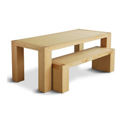 Gus - Chunk Bench - The Chunk is a simple Parsons-style table with a geometric design reminiscent of Bauhaus archetypes.