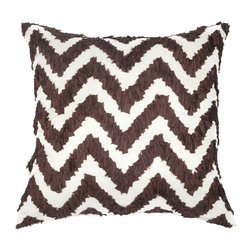 A1 Home Collections - Brown Fabric Ruched Chevron Polyester Throw Pillow - Subtle yet modern, made from 100 % polyester, this decorative pillow features the beautiful chevron pattern for a rich look in your decor.
