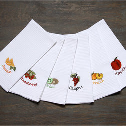 None - LUCIA MINELLI Luxury european 6 pcs Fruit Embroidered Turkish Kitchen towel set - This 100 percent Turkish cotton embroidered kitchen towel set will add a practical and stylish look to your kitchen. Each of the six white towels features an absorbent waffle weave design and is embroidered with a lovely fruit motif.