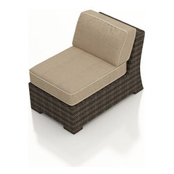 Forever Patio - Bayside Outdoor Wicker Sectional Middle, Spectrum Mushroom Cushions - The Bayside Sectional Middle Chair (SKU FP-BAY-SM-SW-SM) is the perfect edition to any Bayside sectional, expanding the seating and terrific look the set. The Stone Wood wicker is infused with color and UV-inhibitors, creating a look that will last throughout the seasons. It also sports a thick, flat-weave design that is brimming with modern beauty. This sectional includes fade- and mildew-resistant Sunbrella cushions; the industry's best outdoor fabric. You will also receive matching accent pillows for each seat when you order with Quick Ship fabrics.