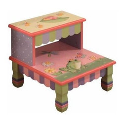 A Magic Garden Step Stool - Help your little one gain independence with this little step stool. Unique in finishing design, the additional unique shape also offers your child a place to sit in style.