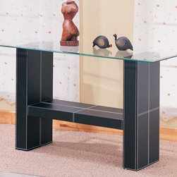 Coaster - Williams Contemporary Sofa Table - One large lower shelf. Straight edges. Sleek beveled straight edge glass top. Architectural base with two rectangular pedestal supports. Rich black bonded leather covered base. 50 in. W x 18 in. D x 28 in. H. WarrantyThis fabulous contemporary sofa table will make a bold statement in your living room. The sleek beveled glass top is generously sized, and is perfect for placing a lamp and favorite decorative items. Use the shelf below for books and other accent items to spice up your room. This beautiful sofa table will help you create a stylish and sophisticated living room ensemble with modern flair.