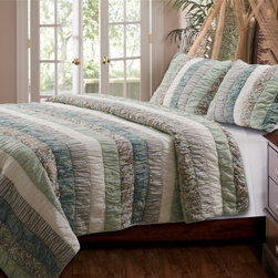 None - Paradise 3-piece Cotton Quilt Set - At home in variety of settings,the contemporary Paradise quilt features a pinstripe and paisley striped ruched pattern for a billowing,exotic style. Crafted with machine washable cotton,this soft quilt will add cool color to any bedroom decor.
