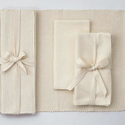 "Origin Crafts - Natural ribbed placemats set of 4 (one set left) - Natural Ribbed Placemats Set of 4 Napkins and Placemats sold separately. Sets of four tied together w/matching twill tape. 100% cotton. machine wash cold water; tumble dry low. Dimensions: Placemats - 14.5"" x 19"" By Tag Ltd. - Tag Ltd. is a supplier of decorative accessories. Ships within Three"