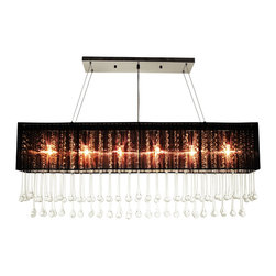 "Lightupmyhome - 40"" Rectanguular Black Crystal Chandelier Pendant - This rectangular chandelier delivers on quality and beauty. It contains more than 100 -7 inch teardrop leaded crystals from end to end.This gorgeous chandelier measures 40 inches long. It comes with over 100 clear crystals that hang along the rectangular frame. The finish on this light is chrome Measurements 40 Inches in Length and 13 inches in height. This chandelier comes with 60 inches of hanging wire. It requires (6) e12 Light bulbs (not included) Must be hard wired to the ceiling canopy. Professional installation is suggested. Made of stainless steel."