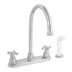 Premier - Sanibel Lead-Free Two-Handle Kitchen Faucet with Spray - Chrome - Premier 118144LF Sanibel Lead-Free Two-Handle Kitchen Faucet with Spray, Chrome.