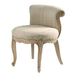 """French Upholstered Slipper Chair - This stunning curved """"French"""" chair, upholstered yet revealing of its wooden frame, is tailored to the sophisticated taste."""