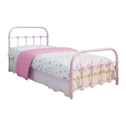 None - Lindsay Pink Twin Bed - The Lindsay Twin bed is a classic antique-designed bed made of cast iron and steel in a fun pink color. This adorable bed is easy to clean and uses standard twin-size mattresses.