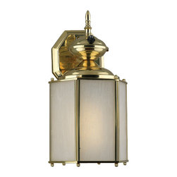 "Forte Lighting - Energy Efficient Traditional / Classic Outdoor Wall Sconce - Single Light Outdoor Wall SconceEnergy Efficient FixtureFeatures Frosted Seeded Glass with Aluminum and Brass ConstructionPhotocell IncludedExtends: 7""1-18w 4-Pin Quad Fluorescent Bulb (Included)"
