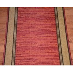 "Dean Flooring Company - Dean Washable Carpet Rug Runner - Boxer Terra Cotta - Purchase By the Foot - Dean Washable Carpet Rug Runner - Boxer Terra Cotta - Purchase By the Linear Foot : This runner is sold here by the linear foot. One unit of quantity equals one foot of length on your runner. Width - Approximately 25"". These beautiful carpet runners match our Dean Flooring Company stair treads. This item will be finished (serged with color matching yarn) on all four sides regardless of the length. It is made from nylon with a washable non-skid rubber back."
