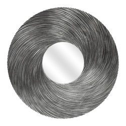 MCS Industries - Round Swirl Silver Mirror - The Round Swirl Mirror is a unique addition to any space, with a sleek, silver finish and a textured wood construction that creates visual interest. This mirror hangs vertically or horizontally, with hardware included.