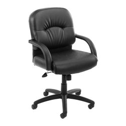 "Boss - Mid Back Caressoft Chair In Black - Beautifully upholstered with ultra soft and durable Caressoft upholstery. Executive Mid Back styling with extra lumbar support. Padded armrests covered with Caressoft upholstery. Solid 27"" nylon base with casters. Hooded double wheel casters. Upright locking position. Pneumatic gas lift provides instant seat height adjustment. Adjustable tilt tension control. Optional knee-tilt mechanism available (B7407). Matching guest chair with cantilever base (B7409)."