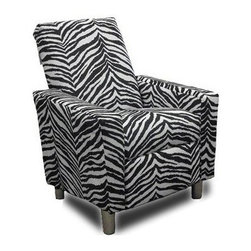 Dozydotes Modern Recliner - Zebra - Relax like you're in the savannah. Everyone loves the Dozydotes Modern Recliner - Leather Like Fabric. It's crafted of solid hardwood and is upholstered in lovely brown faux leather. It features an easy-recline system that makes relaxing a breeze.About DozydotesDozydotes' mission is to bring joy to children and confidence to shoppers, which Dozydotes achieves by offering exclusive designs and high quality products. The brainchild of experienced mother Rene Campbell and elementary educator Alisa Clark-Slodoba, Dozydotes aims to bring smiles to the faces of children and parents alike with fun, creative products. Designed with kids in mind, Dozydotes recliner chairs are miniature versions of the real thing and are equally attractive, meaning your child will have a custom-sized chair that will look great in your home.