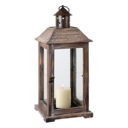 Uttermost - Uttermost Denley Weathered Wood Candleholder - Decorative, old world style lantern made of weathered wood with bronze metal accents. Distressed beige candle included.