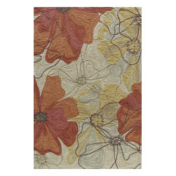 Momeni - Momeni Summit Sand Yellow Yellow Gold Flowers Transitional 8' x 10' Rug by RugLo - Inspired by its surroundings, Summit is a casual collection of hand-hooked rugs in bold floral and ethnic patterns. Made of 100% polyester.